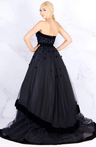 Mac Duggal - 66346H Velvet Trimmed Strapless Tiered Evening Gown Ball Gowns 0 / Black