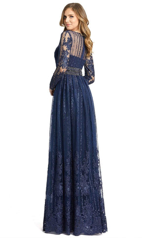 Mac Duggal - 66591 Embroidered Long Sleeve A-Line Gown In Blue