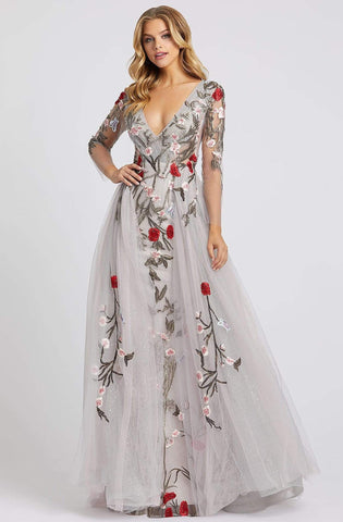 Mac Duggal Couture - 20125D Floral Embroidered Dress With Overskirt