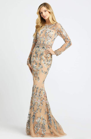 Mac Duggal Couture - 79222D Floral Embroidered Long Sleeve Dress Evening Dresses 2 / Nude/Multi
