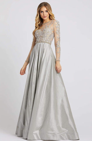 Mac Duggal Evening - 12230D Illusion Floral Embroidered Bejeweled Gown Evening Dresses 0 / Dove Gray