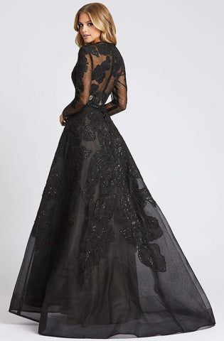 Mac Duggal Evening - 12347D Illusion Long Sleeve Floral A-Line Gown Evening Dresses 0 / Black