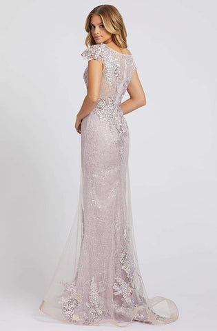 Mac Duggal Evening - 20144D Floral Appliqued V-Neck Mermaid Gown Special Occasion Dress 0 / Lavender