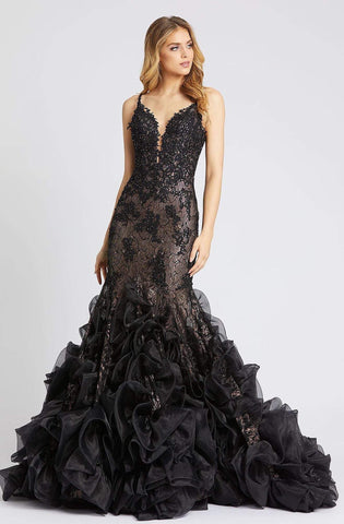 Mac Duggal Evening - 79275D Embroidered Deep V-neck Mermaid Dress Pageant Dresses 0 / Black