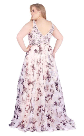 Mac Duggal Fabulouss - 77542F Beaded Plunging Floral A-Line Gown Evening Dresses 14W / Blush Floral