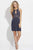 Madison James - 17-504 Beaded Halter Sheath Dress Special Occasion Dress 2 / Navy