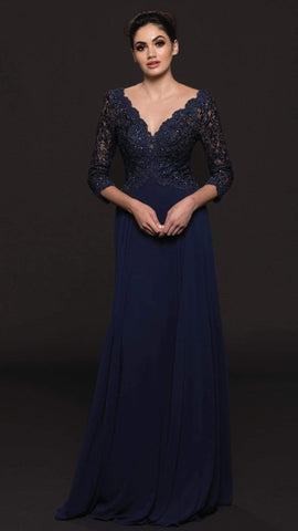 Marsoni by Colors - Quarter Sleeve Scalloped Lace Gown M225 - 1 pc Wine in Size 4 Available CCSALE 14 / Navy