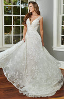 Sexy A-line V-neck Embroidered Beaded Mesh V Back Applique Button Closure Tulle Plunging Neck Natural Waistline Wedding Dress with a Chapel Train