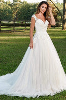 Sweetheart Sleeveless Natural Waistline Applique Open-Back Sequined Beaded Wedding Dress with a Chapel Train