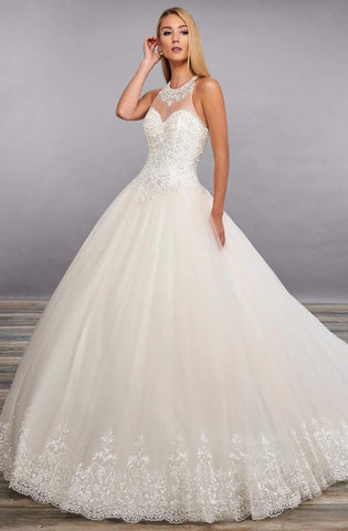 Mary's Bridal - MB3105 Illusion Lace Appliques Ballgown Dress