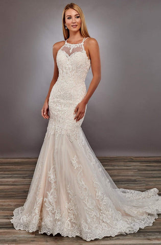 Mary's Bridal - MB4089 Halter Appliques and Beads Trumpet Dress Wedding Dresses 0 / Ivory/Champagne