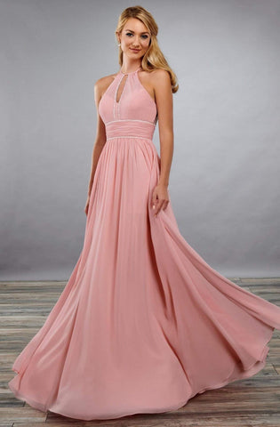 Mary's Bridal - MB7069 Keyhole A-Line Dress Bridesmaid Dresses 0 / Dusty Rose