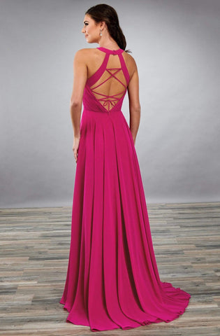 Mary's Bridal - MB7085 Halter Strappy Back A-Line Dress Prom Dresses 0 / Magenta