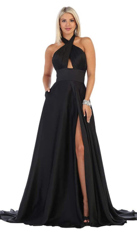 May Queen - MQ1631 Cross Halter A-line Dress With Train Evening Dresses 4 / Black