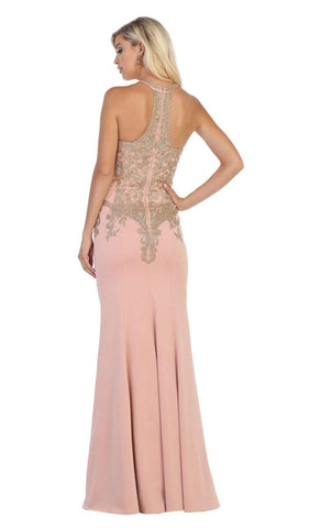 May Queen - MQ1641 Gilt-Embroidered Lace Halter Gown Special Occasion Dress 4 / Dusty Rose