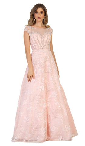 May Queen - RQ7612 Lace Applique Bateau A-line Dress Special Occasion Dress 4 / Blush