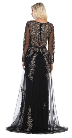 May Queen - RQ7678 Beaded Appliques Long Sleeves Dress Evening Dresses S / Black