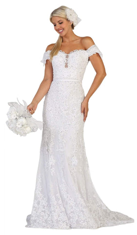 May Queen - RQ7691 Embellished Off-Shoulder Trumpet Dress Special Occasion Dress 4 / White