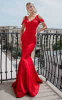 V-neck Fit-and-Flare Mermaid Natural Waistline Beaded Fitted Back Zipper Pleated Floor Length Off the Shoulder Evening Dress