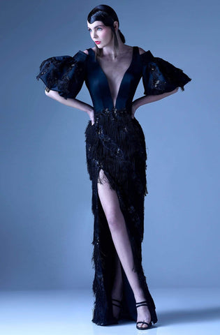 MNM Couture - G0937 Sheer Fringed Evening Gown with Slit