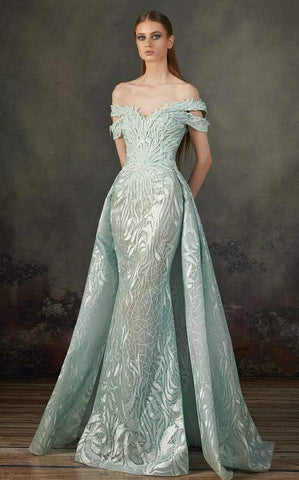 MNM COUTURE - K3721 Cut In Off Shoulder Gown with Overskirt