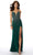 Mori Lee - 46011 Fitted V-Neck High Slit Beaded Jersey Dress Prom Dresses 00 / Emerald