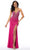 Mori Lee - 46011 Fitted V-Neck High Slit Beaded Jersey Dress Prom Dresses 00 / Fuchsia