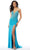 Mori Lee - 46011 Fitted V-Neck High Slit Beaded Jersey Dress Prom Dresses 00 / Turquoise