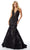 Mori Lee - 46041 Plunging Halter Mermaid Gown Prom Dresses 00 / Black/Nude