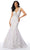 Mori Lee - 46041 Plunging Halter Mermaid Gown Prom Dresses 00 / White/Nude