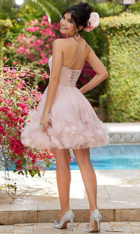 Mori Lee - 9551 Satin And Tulle Floral Applique Dress Party Dresses 00 / Blush