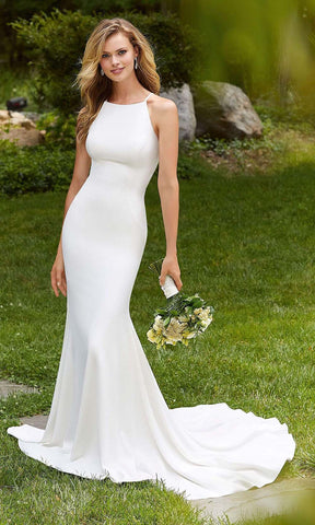 Mori Lee Bridal - 12104 Bree Halter Crepe Sheath Wedding Gown Wedding Dresses 0 / Diamond White