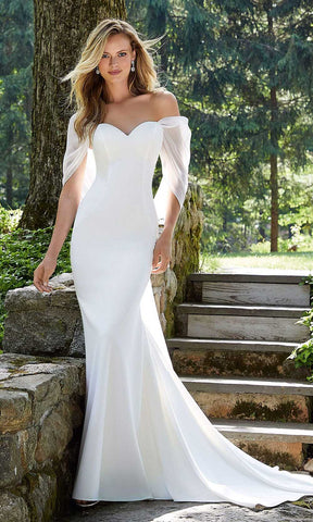 Mori Lee Bridal - 12110 Brianna Sweetheart Mermaid Gown With Drape Wedding Dresses 0 / Diamond White