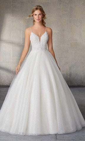 Mori Lee Bridal - 2145L Starlet Crystal Beaded Bodice Glitter Net Gown Special Occasion Dress