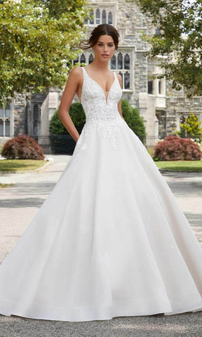 Mori Lee Bridal - 5809 Sabrina V-Neck Beaded Applique Organdy Gown Wedding Dresses 0 / Ivory/Rosé