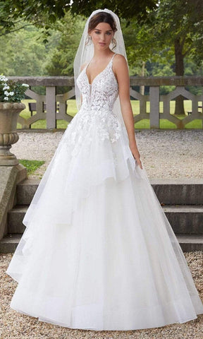 Mori Lee Bridal - 5811 Sahara V-Neck Applique Lace Tulle Gown Wedding Dresses 0 / Ivory/Champagne