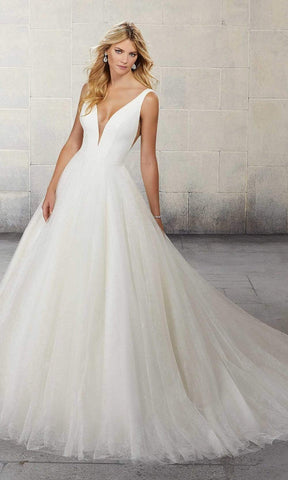 Mori Lee Bridal - 5814P Sara Plunging Printed Tulle Bridal A-Line Gown Wedding Dresses 0 / Ivory