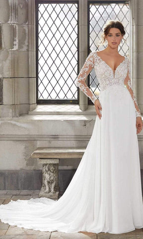 Mori Lee Bridal - 5816 Stevie Lace A-Line Chiffon Gown