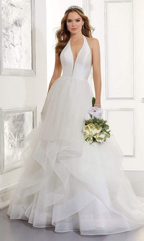 Mori Lee Bridal - 5866 Arabella Halter Tiered Tulle Wedding Gown Wedding Dresses 0 / Ivory/Sand/Honey