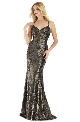 Morrell Maxie - 15910 Sleeveless Sequined V-neck Fitted Dress Special Occasion Dress 2 / Gold