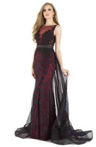 Morrell Maxie - 15927 Embellished Lace Illusion Bateau Sheath Dress Special Occasion Dress 2 / Black/Red