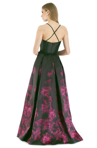 Morrell Maxie - 15940 Sleeveless Mikado Deep V-neck Jacquard Ballgown Special Occasion Dress 6 / Black/Fuchsia
