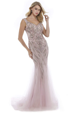 Morrell Maxie - 15976 Metallic Beaded Godet Streamed Gown Special Occasion Dress 0 / Pink