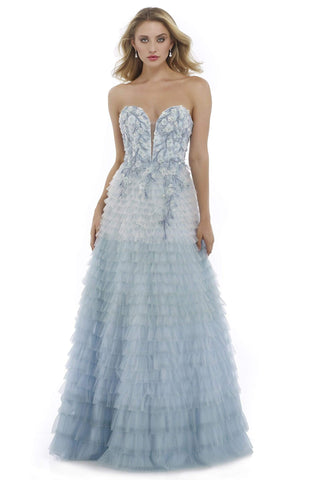 Morrell Maxie - 15979 Strapless Floral Appliqued Ruffled Gown Special Occasion Dress 0 / Blue