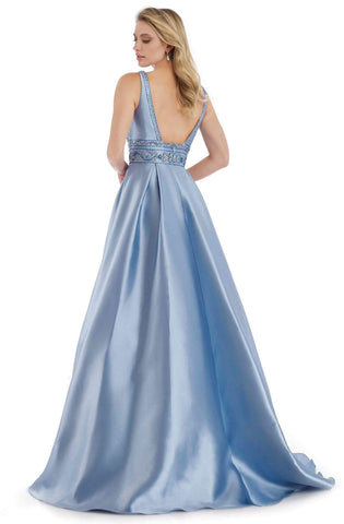 Morrell Maxie - 15991 Embellished V-neck Pleated Ballgown Special Occasion Dress 0 / Peri