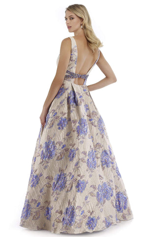 Morrell Maxie - 16028 Metallic Brocade Print Pleated A-line Dress Special Occasion Dress 0 / Lilac