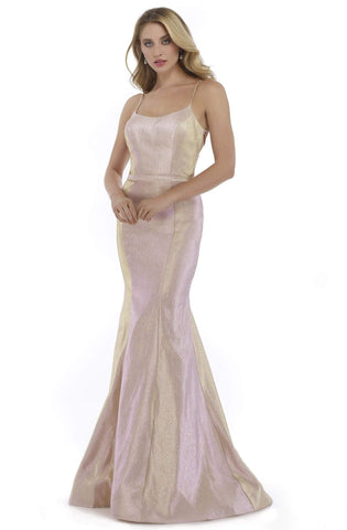 Morrell Maxie - 16038 Strappy Scoop Fitted Mermaid Gown Special Occasion Dress 0 / Pink/Gold