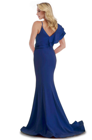 Morrell Maxie - 16061 Ruffled V-neck Scuba Mermaid Dress Special Occasion Dress 0 / Navy