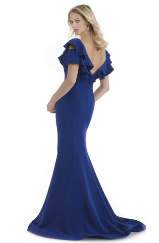 Morrell Maxie - 16064 Ruffled Plunging V-neck Mermaid Dress Special Occasion Dress 0 / Navy