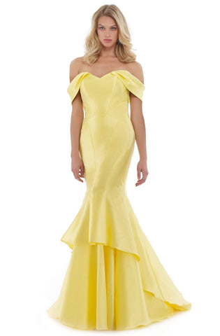 Morrell Maxie - 16077 Off-Shoulder Mikado Mermaid Dress With Train Special Occasion Dress 0 / Yellow